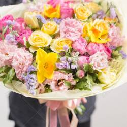 Beautiful Luxury Bouquet of Mixed Flowers in Woman Hand the Stock