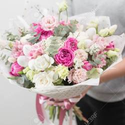 Spring Mood Beautiful Luxury Bouquet of Mixed Flowers in Woman