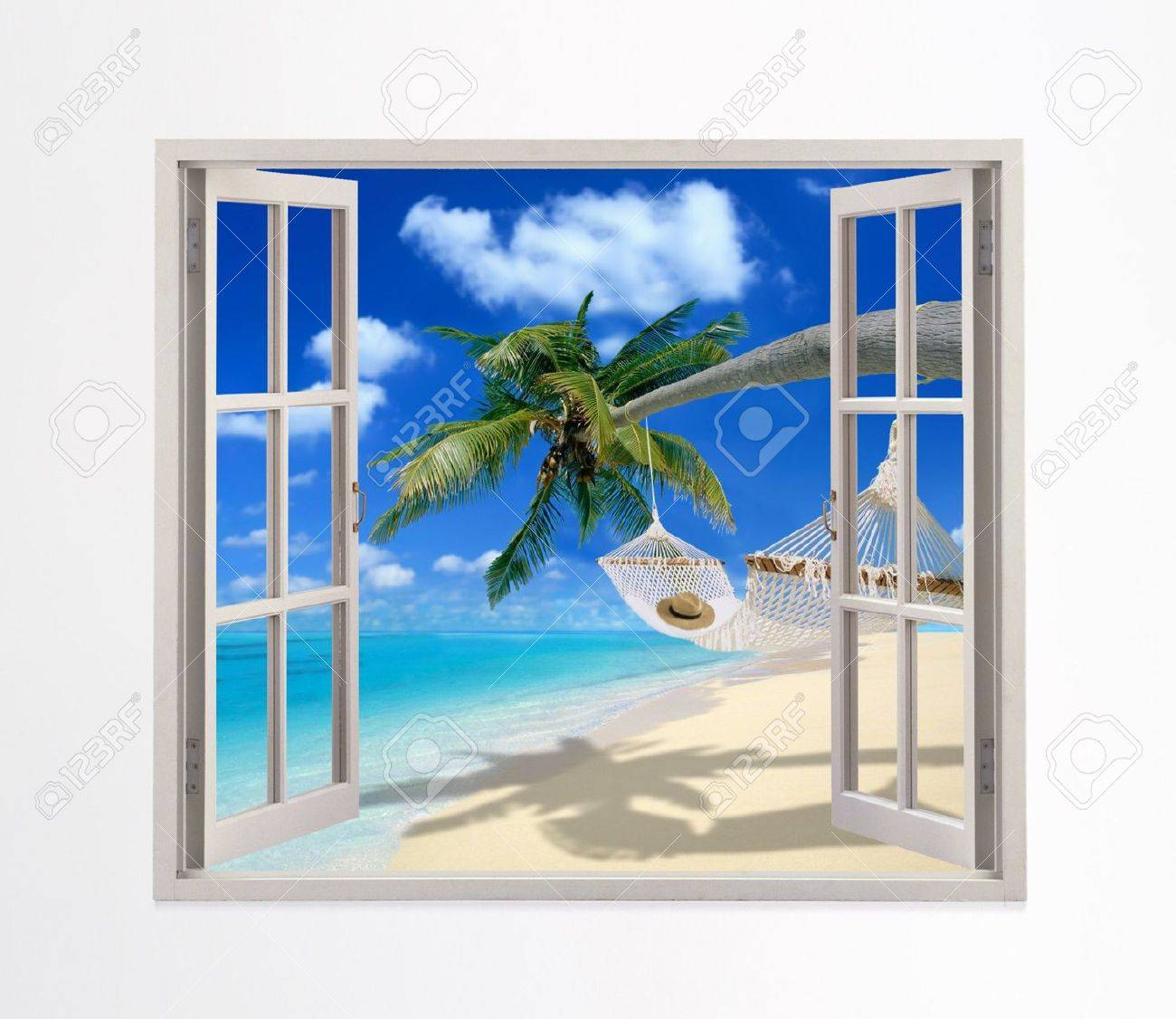 Open window on a beach stock photo 5511599