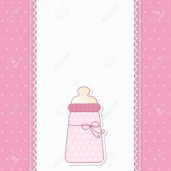 Flossy Newborn Announcement Newborn Announcement Or Babyshower Invitation Baby Pink Background A Tender Background A Baby Pink Background A Tender Background