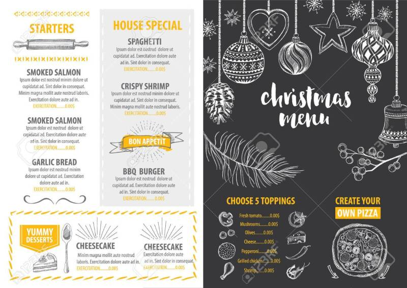 Invitation restaurant menu invitationswedd christmas party invitation restaurant menu design vector template stopboris Image collections