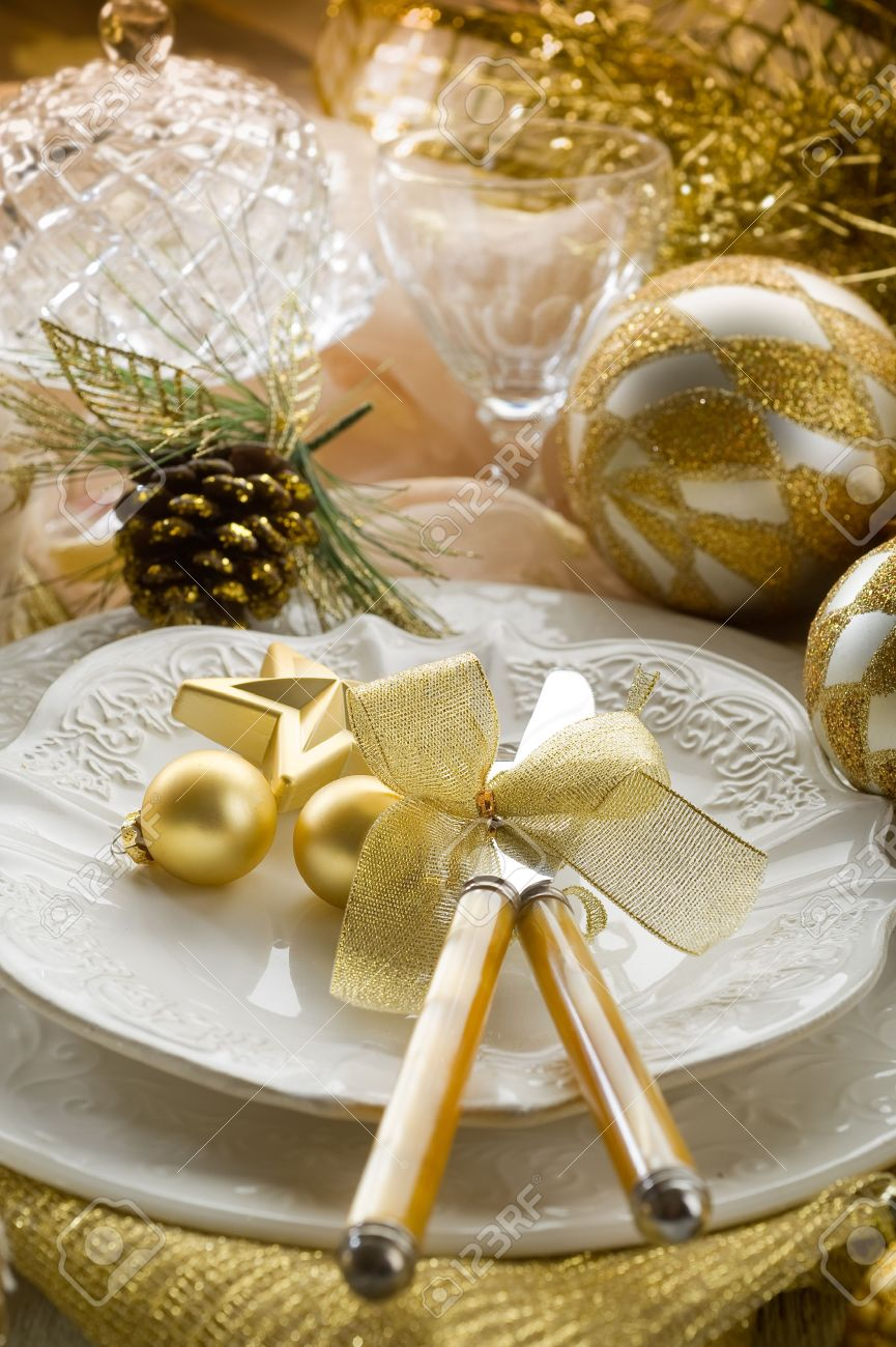 Christmas table decorations gold - Gold Christmas Table Decorations Gold Xmas Table With Decorations Stock Photo 10403547 Download