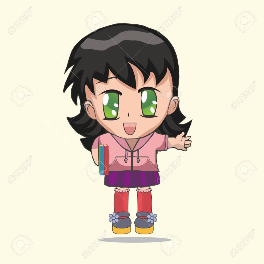 Cute anime chibi little girl. Anime girl with a book on a white background cartoon
