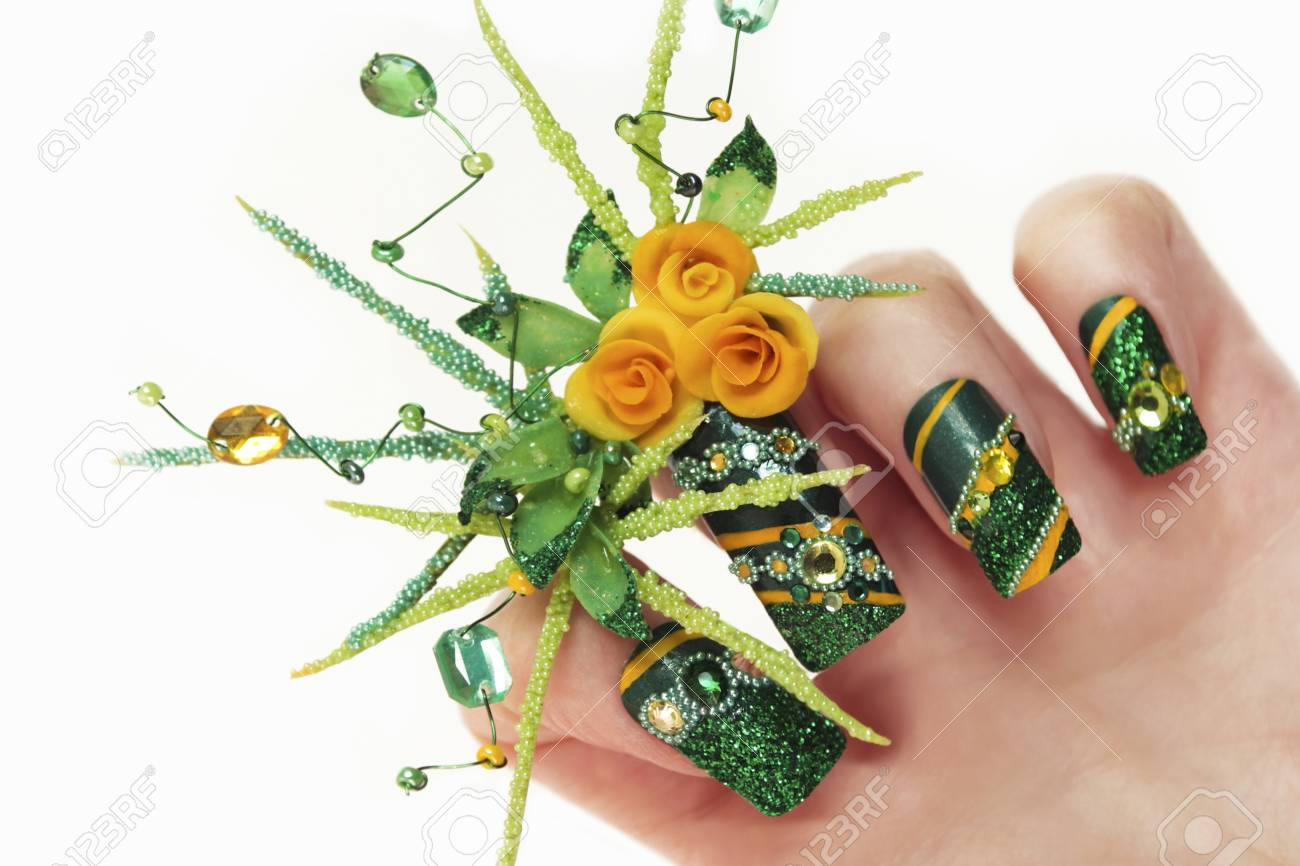 Nageldesign Strasssteine Stock Photo