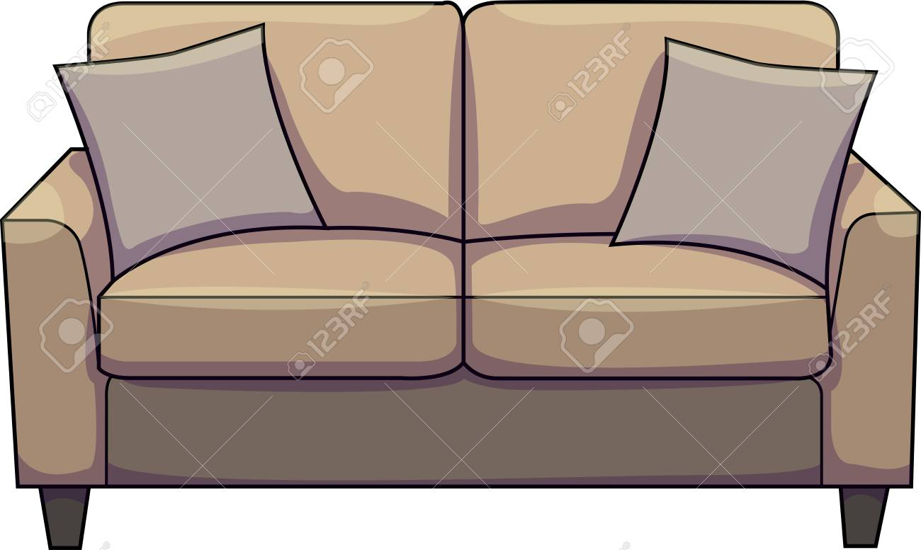 Sofa Couch Or Chesterfield Vector Illustration Of A Brown Sofa Couch Chesterfield With