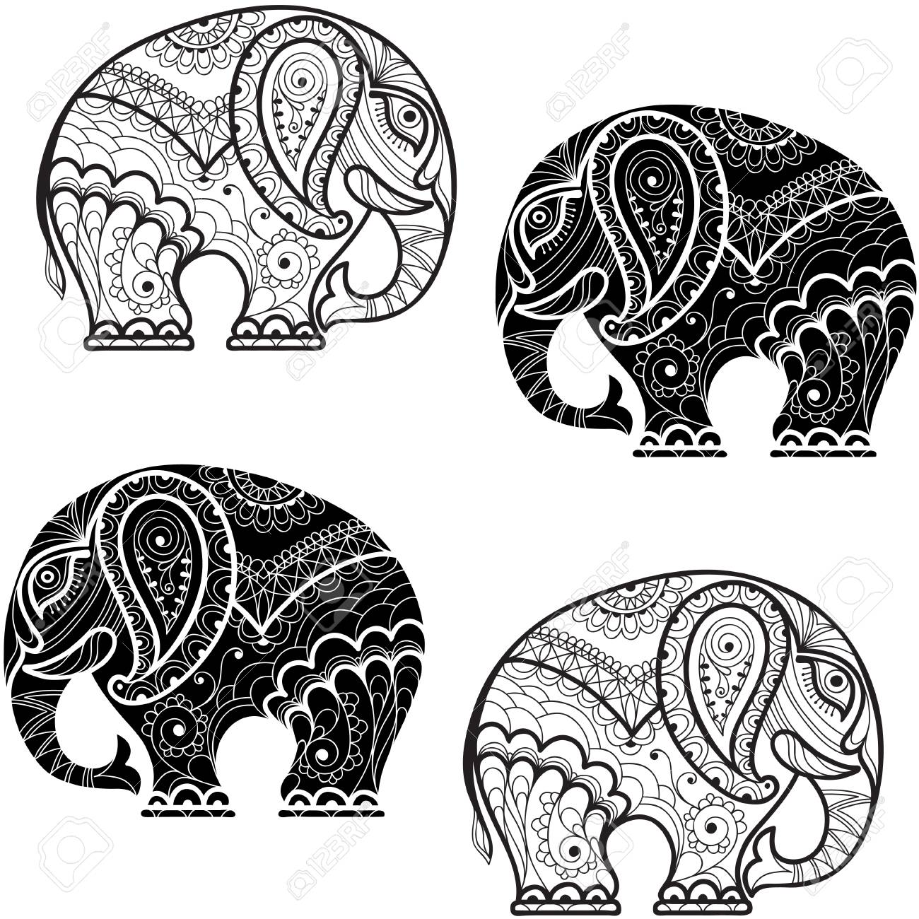 Zentangle Elefant Vorlage Stock Photo