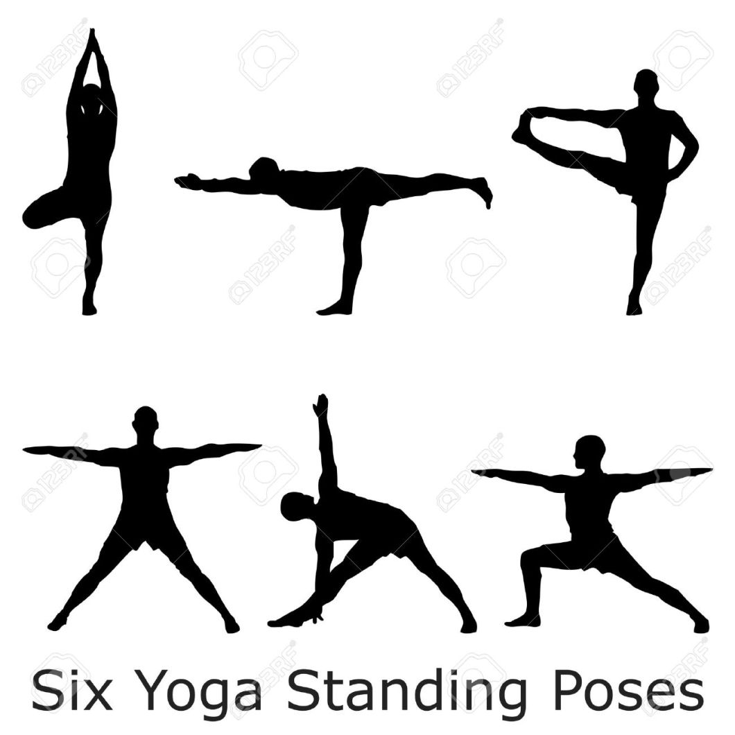 A Batch Of Six Yoga Standing Poses Black Silhouettes Royalty Free