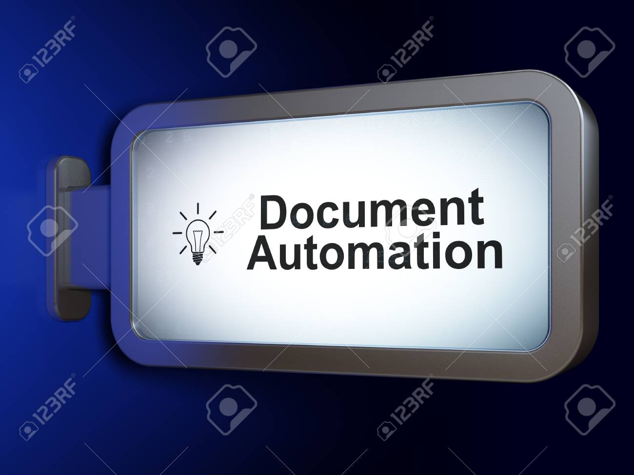Light Automation Finance Concept Document Automation And Light Bulb On Advertising