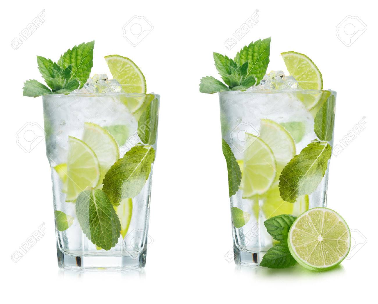 Mojito Glas Mojito Cocktail In Elegant Highball Glass Cold Refreshing Beverage