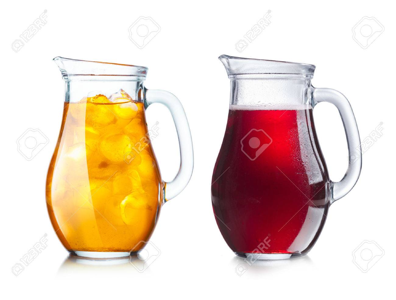 Pitchers Jugs Two Pitchers Jugs With Transparent And Opaque Liquids Of Dark