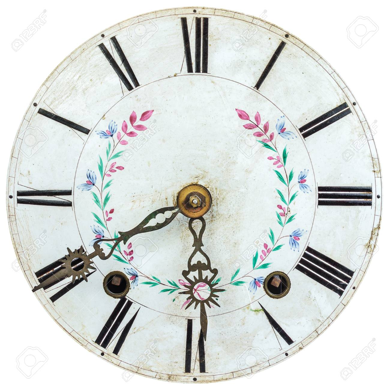Oval Clock Face Authentic Eighteenth Century Clock Face With Flower Decoration