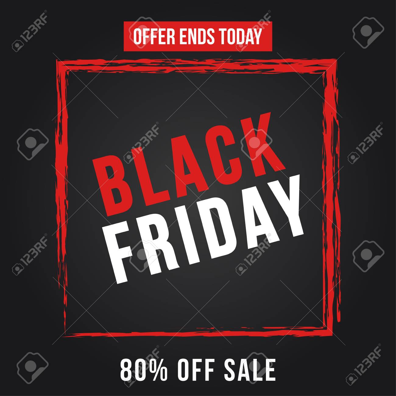 Black Friday Sale Black Friday Sale Poster Seasonal Discount Banner With Red Grunge Frame On Black Background Holiday Design Template For Advertising Shopping