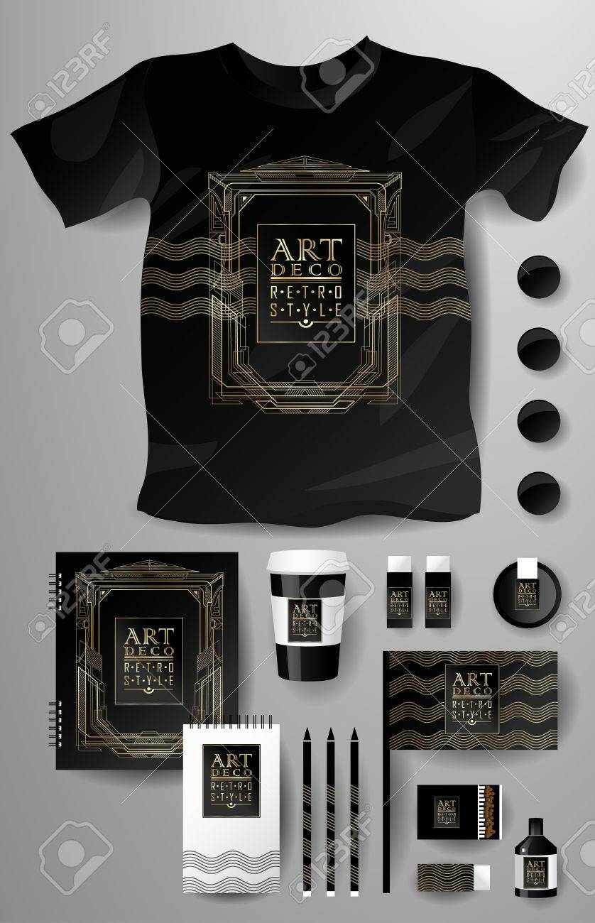 Art Deco Style Notebook Abstract Business Set In Art Deco Style Corporate Identity