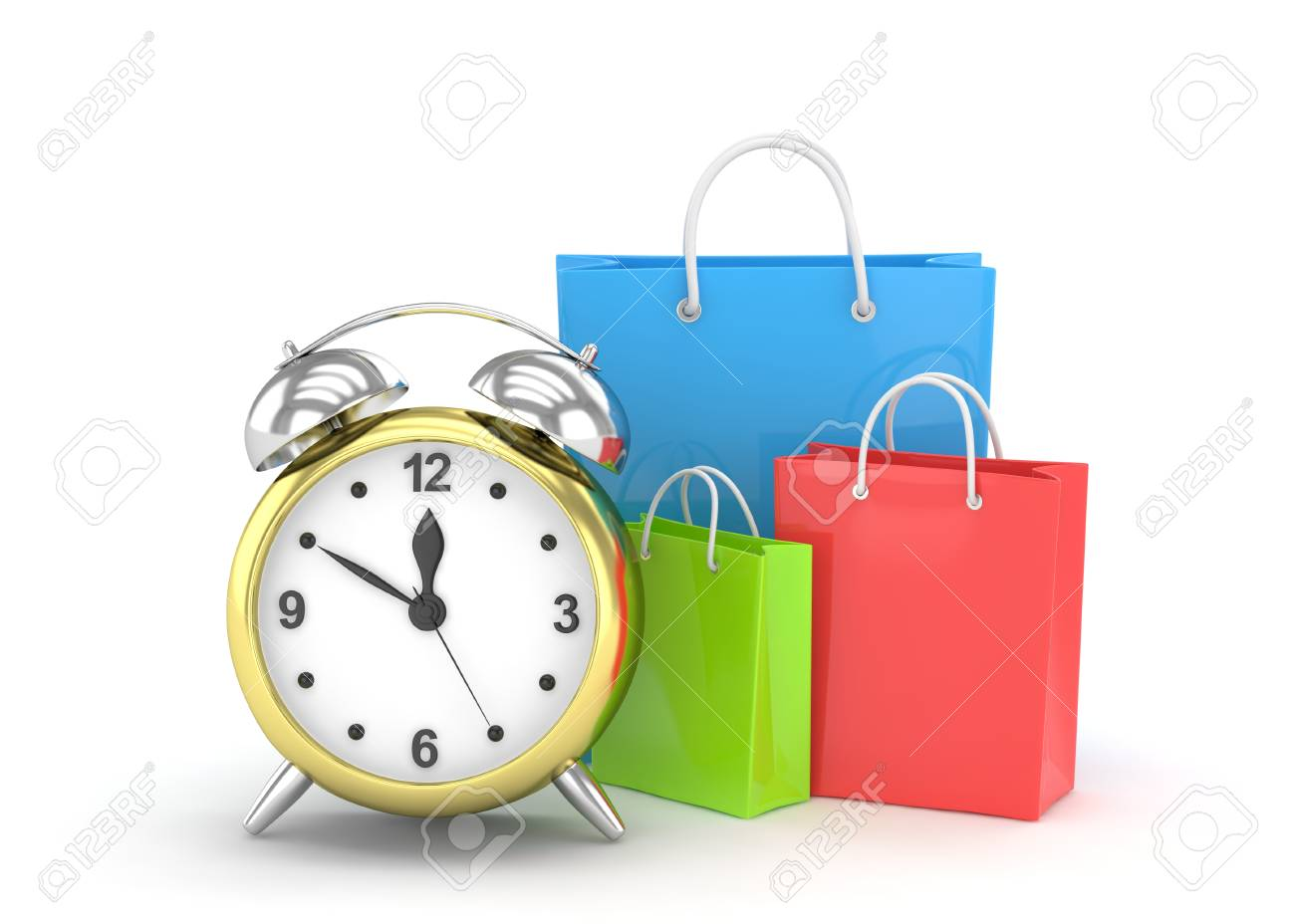 Buy Clock Alarm Clock And Shopping Bag Time To Buy Concept 3d Rendering