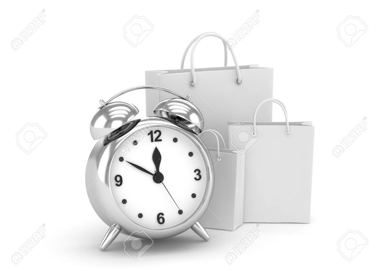 Buy Clock Alarm Clock And Shopping Bags Time To Buy Concept 3d Rendering