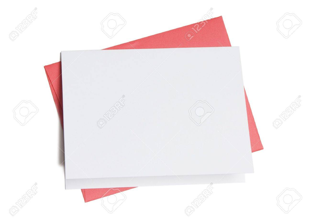 Blank greeting card on top of colored envelope isolated on white background stock photo 3517465