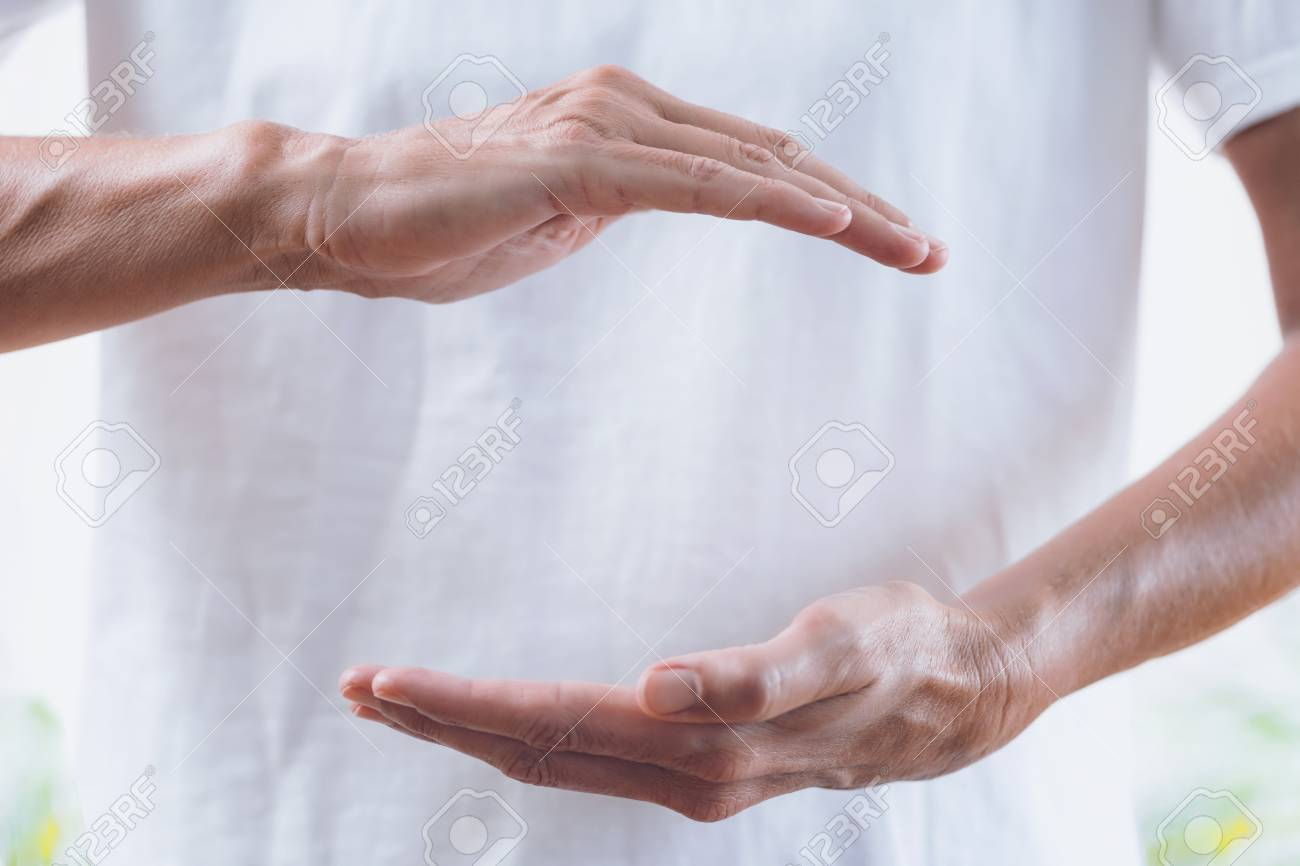 Healing Treatment Close Up Horizontal Image Of Distance Healing Hands Of Therapist