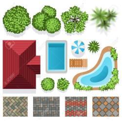 Enchanting Structure Plan Green Plants Landscape Garden Design Vector Elements Structure Architectural Landscapedesign Illustration Landscape Garden Design Vector Elements
