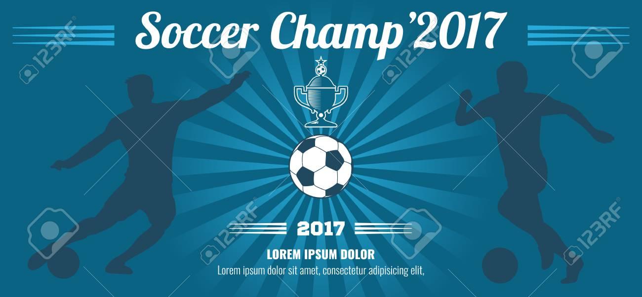 Blue Horizontal Football, Soccer Vector Poster Template Sport