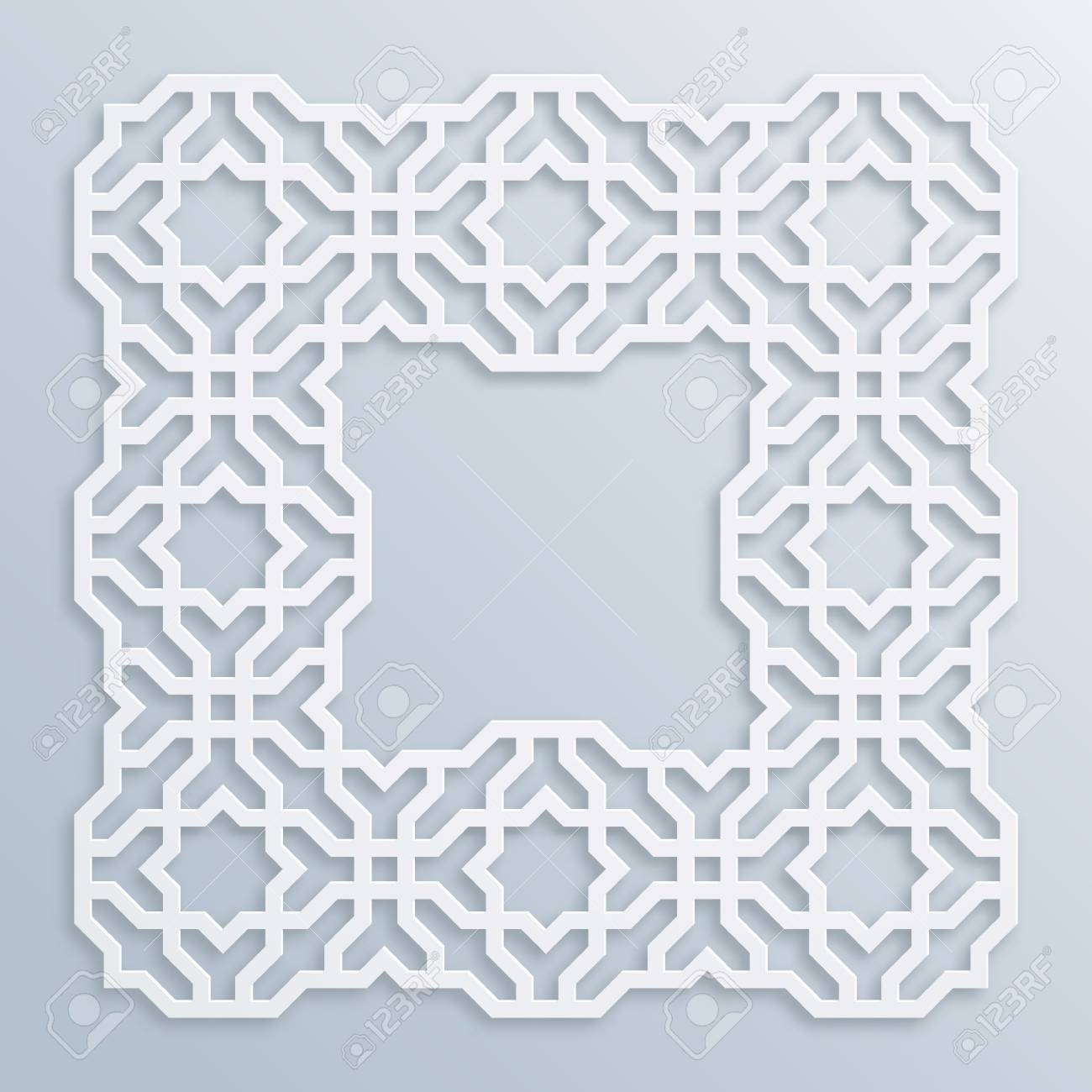 Motif Relief 3d Square White Frame Vignette Islamic Geometric Border Bas Relief