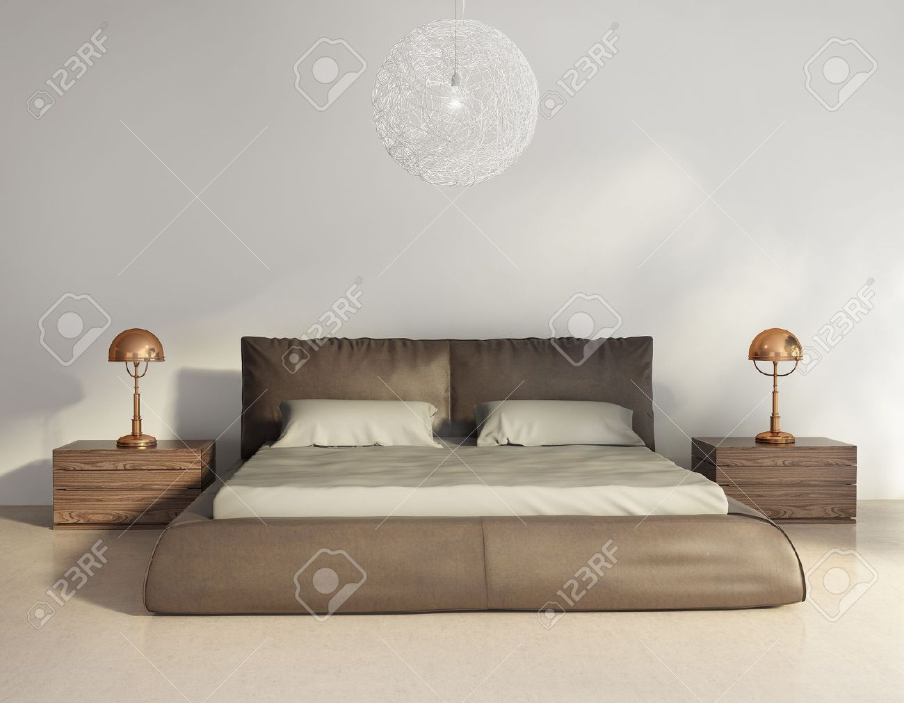Leather Bed Dark Brown Leather Bed In Contemporary Chic Interior Front View