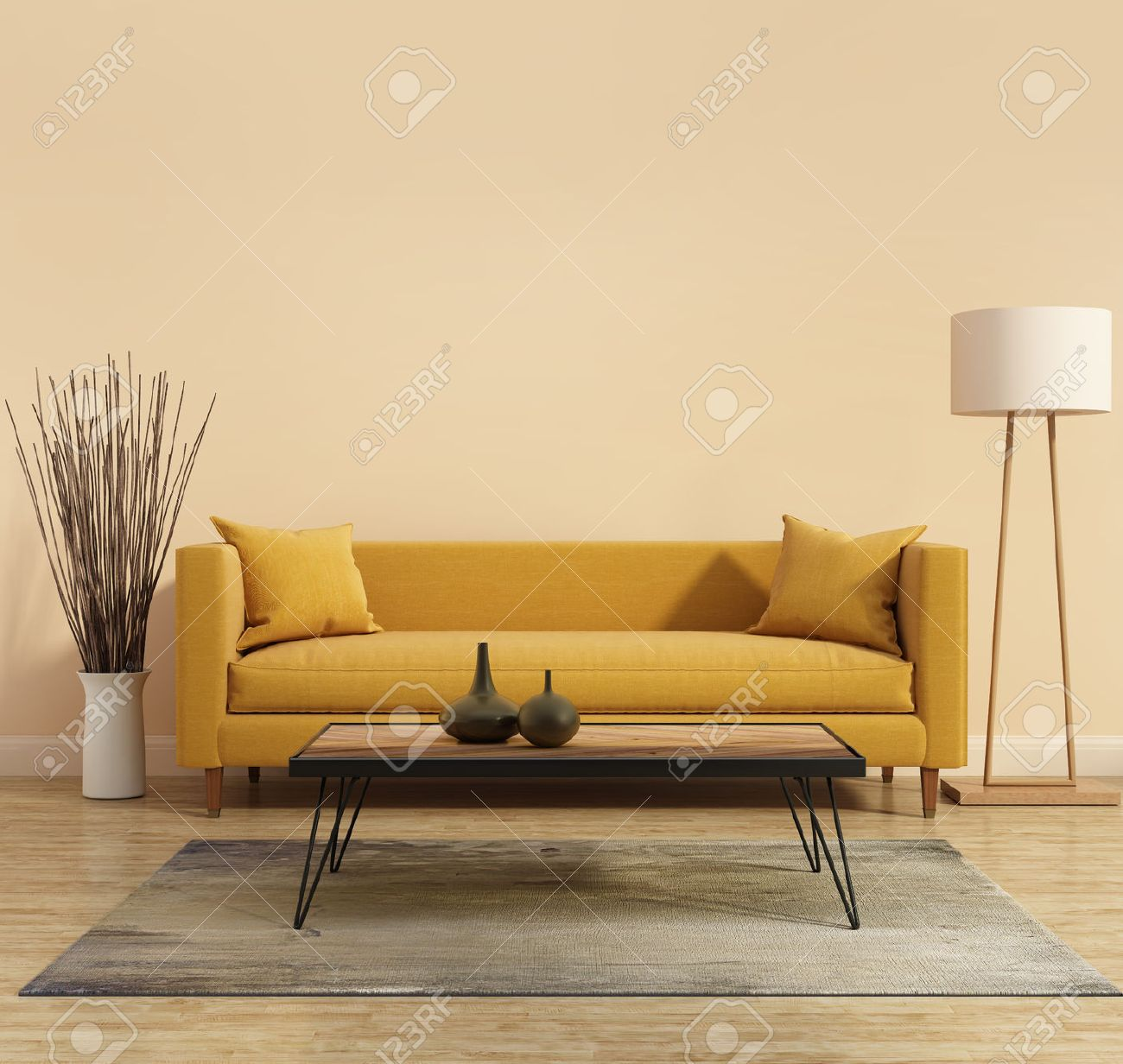 Modern Interior With A Yellow Sofa In The Living Room Stock Photo Picture And Royalty Free Image Image 37935067