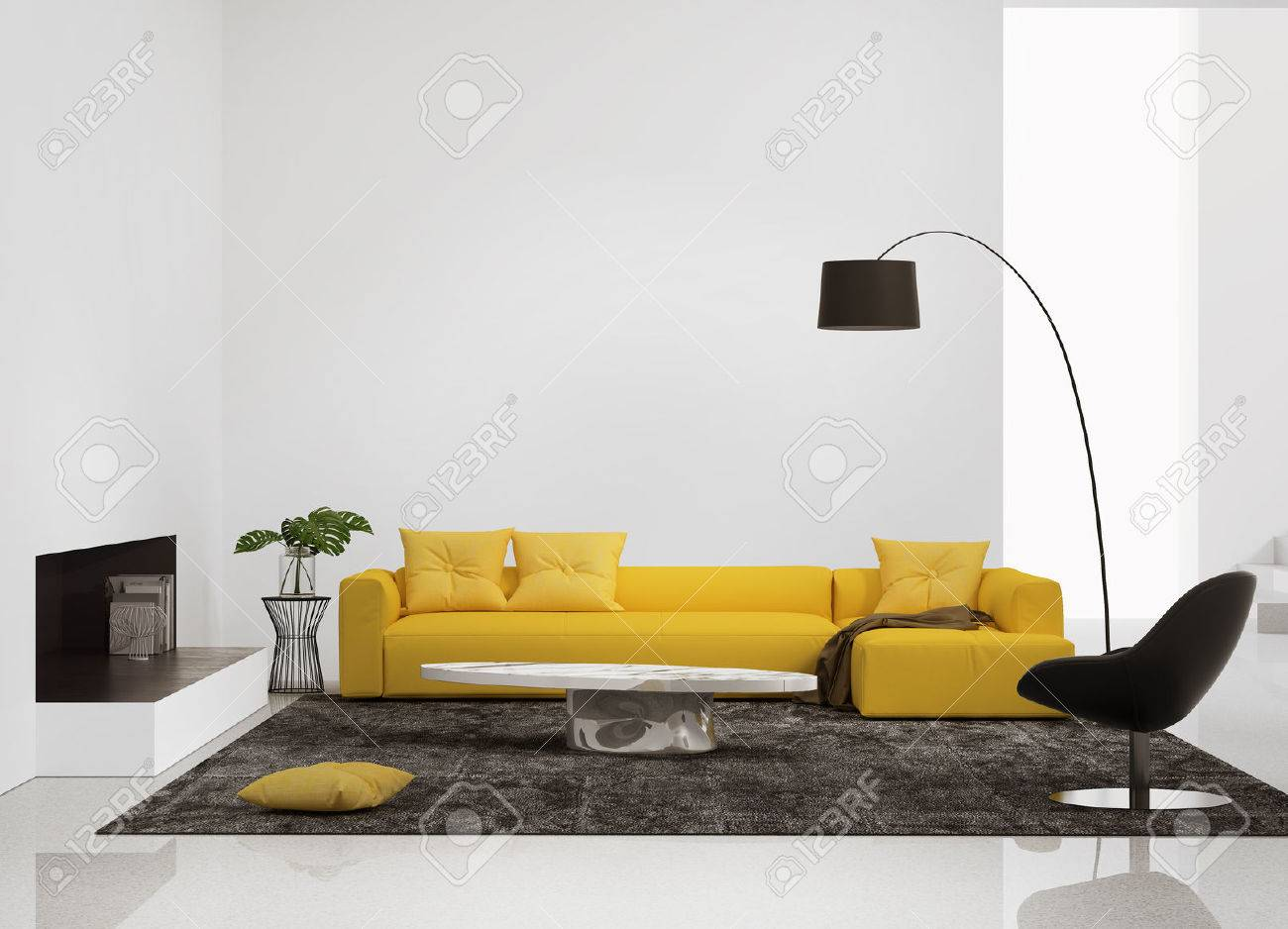 Modern Interior With A Yellow Sofa In The Living Room And A Leather Stock Photo Picture And Royalty Free Image Image 38988222
