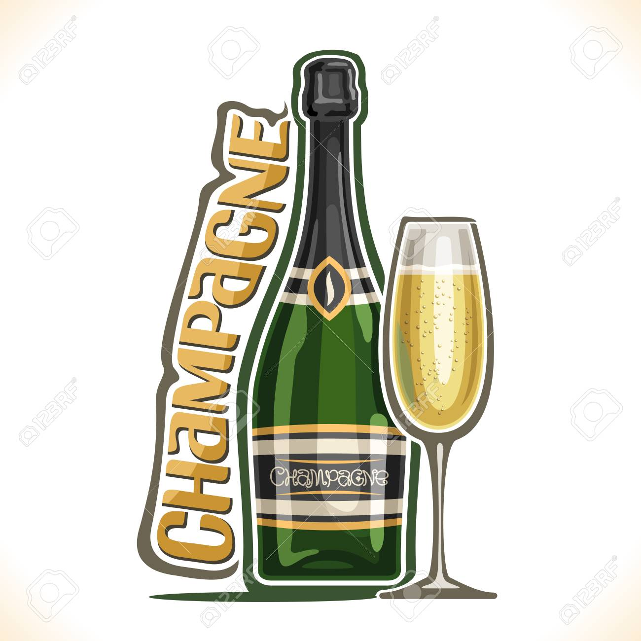 Flute A Champagne Original Vector Illustration Of Alcohol Drink Champagne Poster With Green