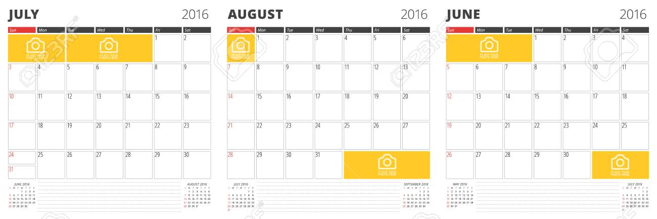 Set Of Calendar Templates For June, July, August 2016 Week Starts