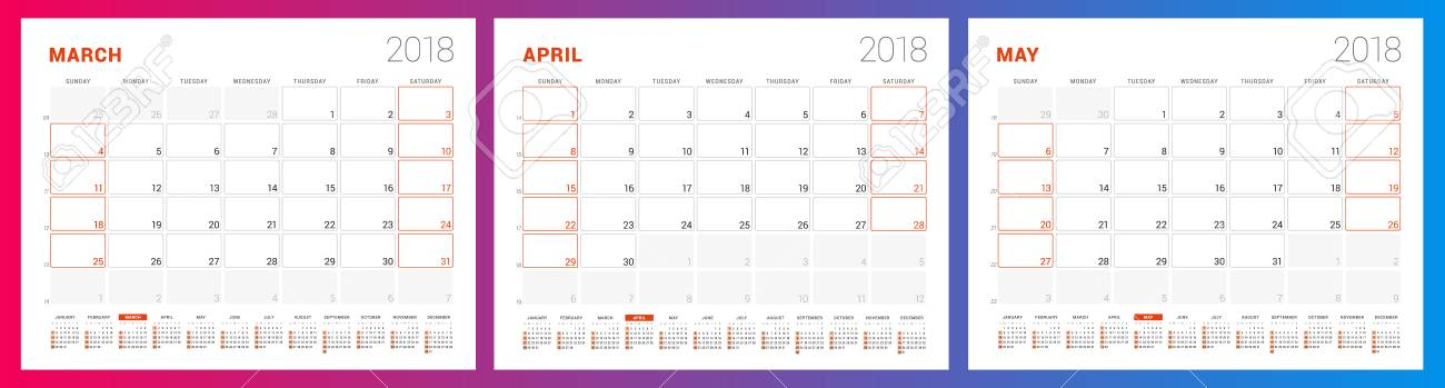 Calendar Planner Template For Spring 2018 March, April, May