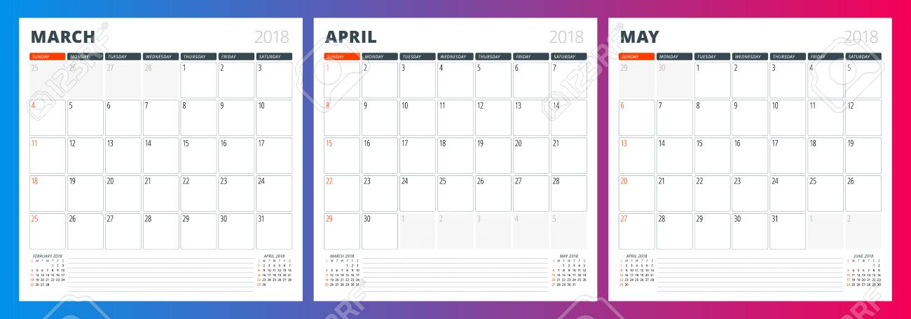 Calendar Template For Spring 2018 March, April And May Design