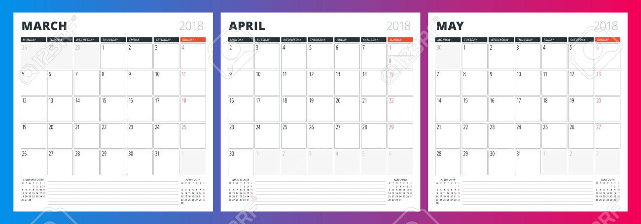 Calendar Planner Template For Spring 2018 March, April And May
