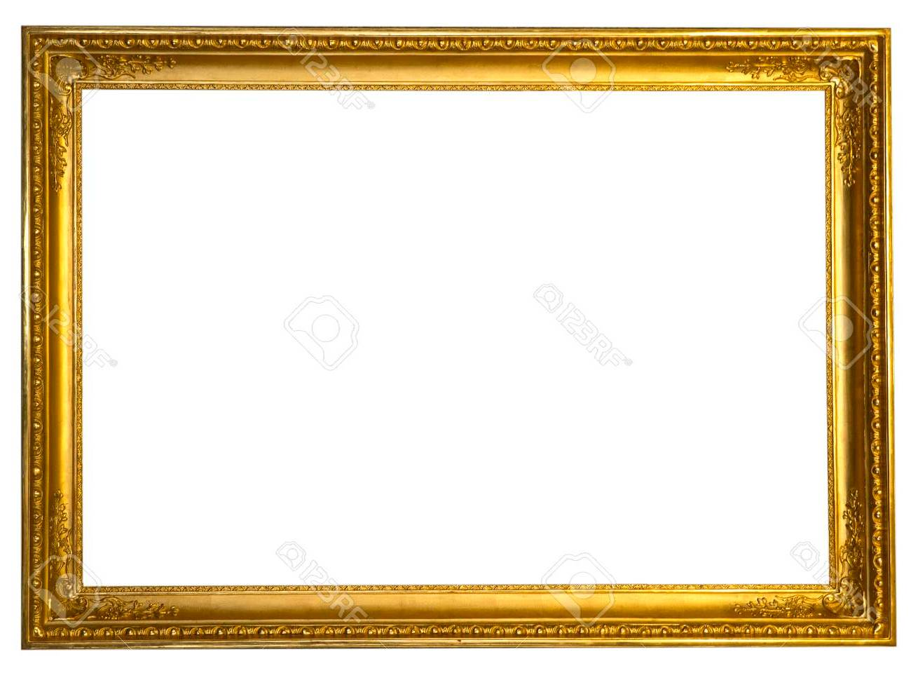 Background Masak Decorative Antique Golden Frame Isolated On White Background