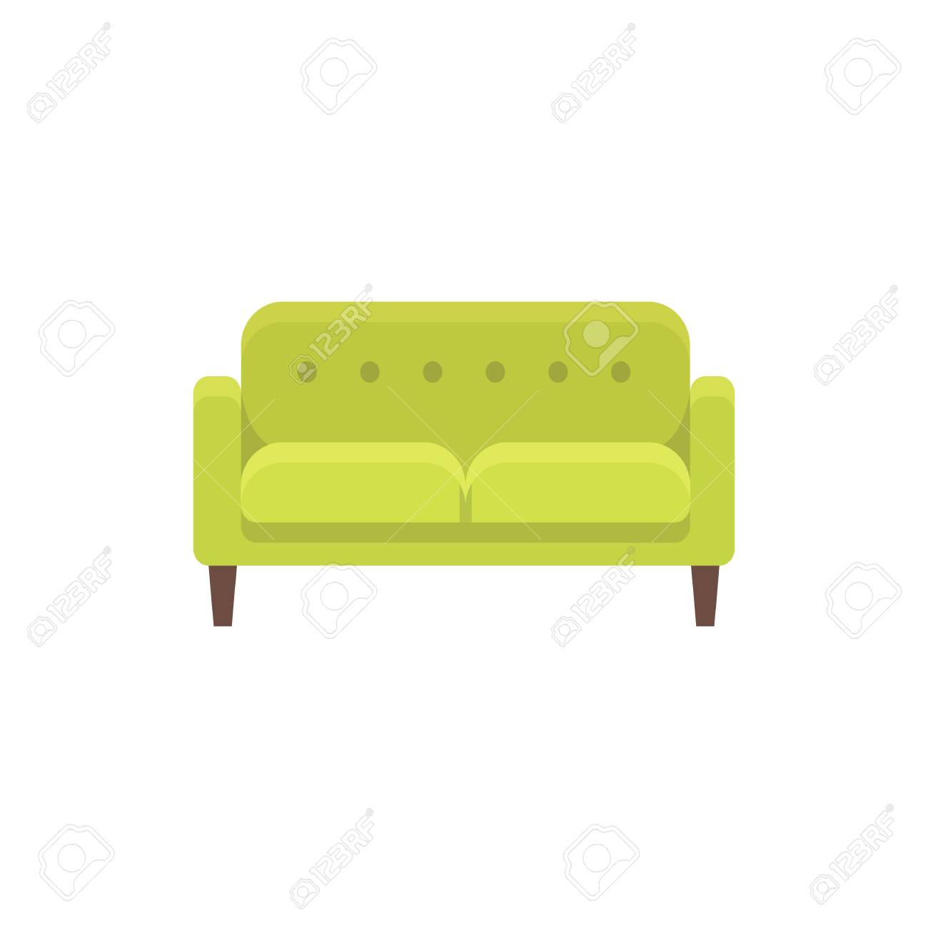 Sofa Vector Free Green Loveseat Double Sofa Vector Illustration Flat Icon Of