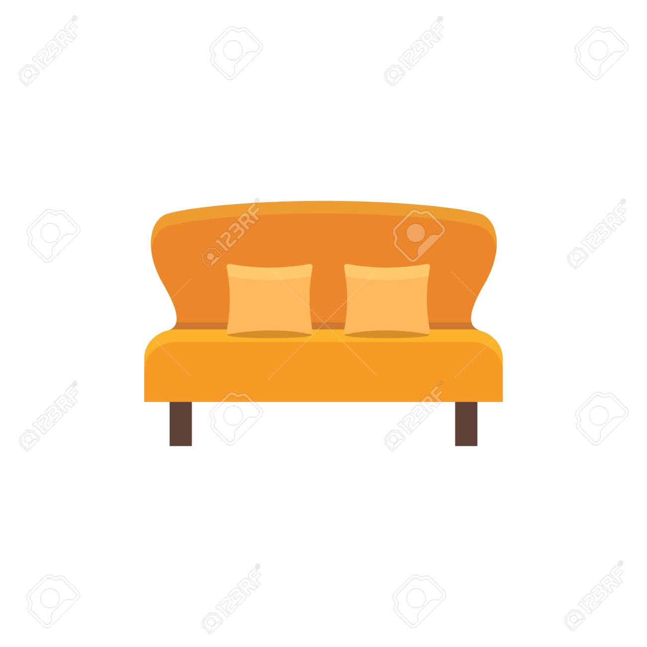 Sofa Vector Free Orange Loveseat With 2 Pillows Double Sofa Vector Illustration