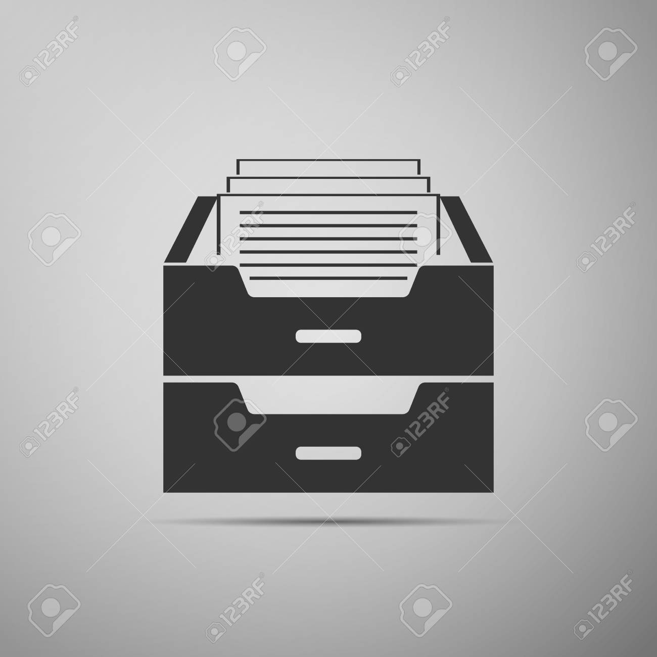 Filing Cabinet Icon Flat Drawer With Documents Icon Isolated On Grey Background Archive