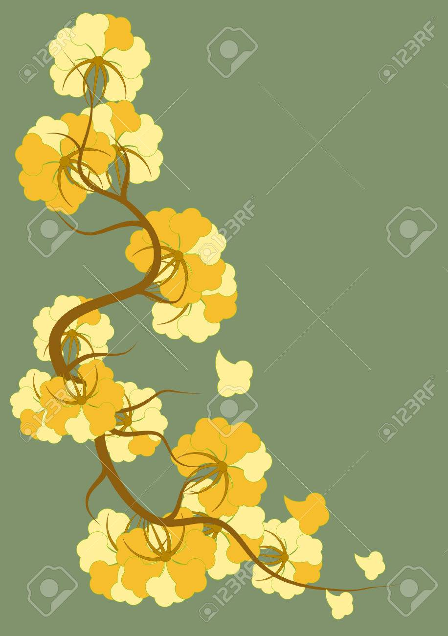 Art Nouveau Yellow Yellow Flowers In The Art Nouveau Style On A Green Background