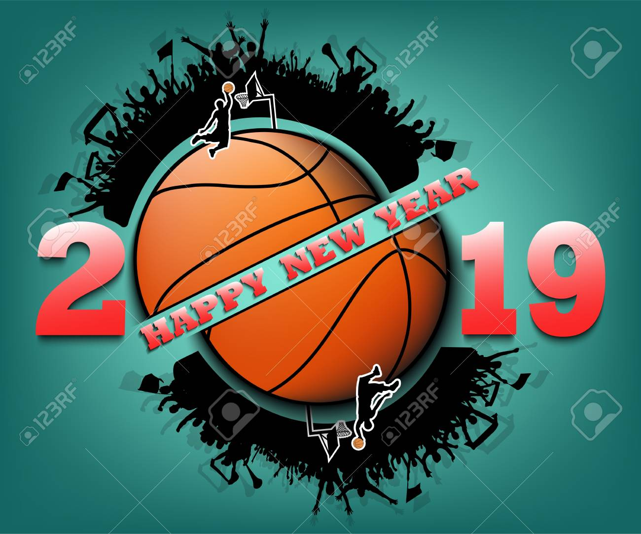 Basketball Ball Happy New Year 2019 And Basketball Ball With Football Fans Creative