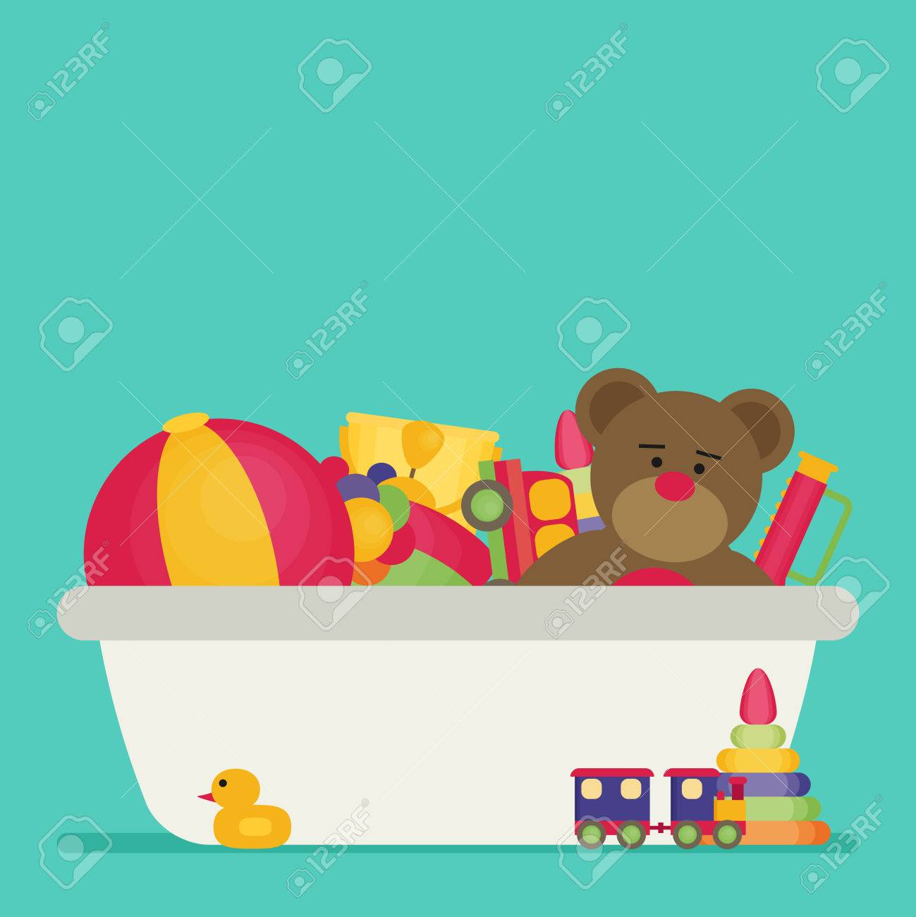 Toy Box Toys Kids Toy Box Full Of Toys Modern Flat Style Vector Illustration