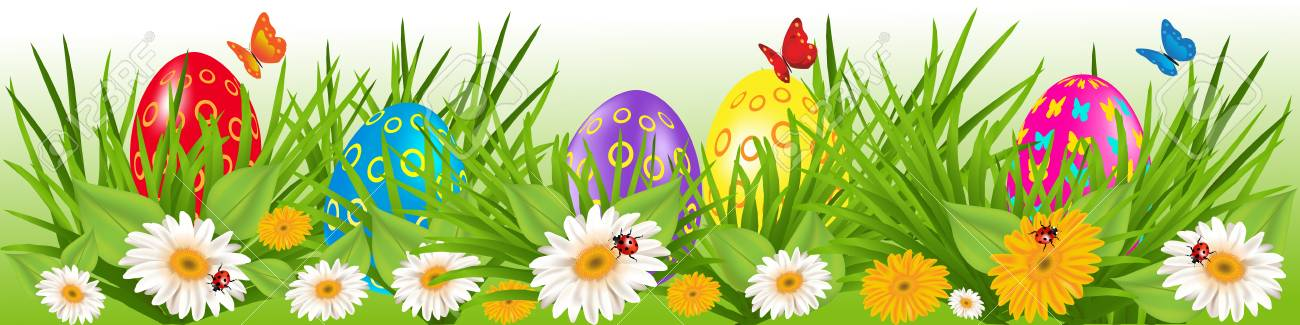 Easter Eggs Border With Multicolored Eggs In A Grass With Daisy