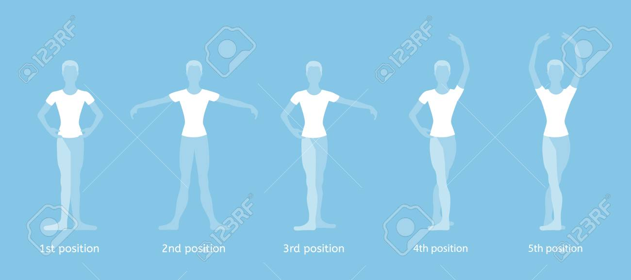 Boy Dancer Performs The Five Basic Ballet Positions On A Blue