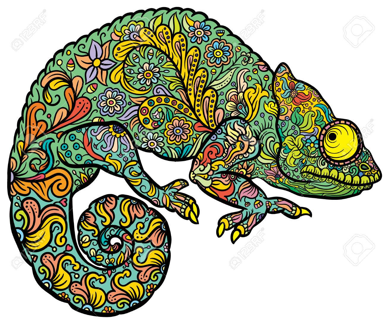 Chameleon Style Zentangle Stylized Multi Coloured Chameleon Hand Drawn Reptile