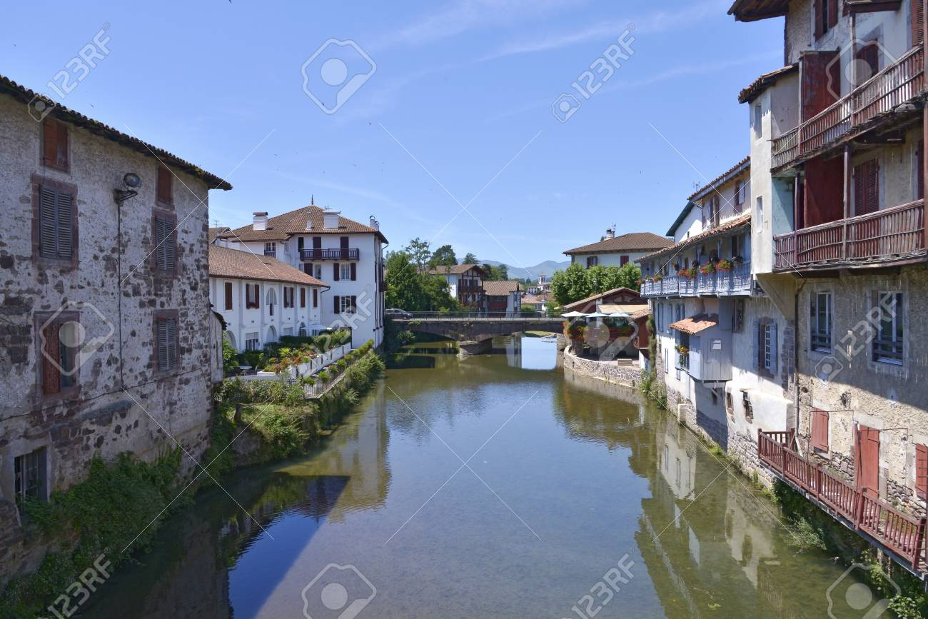 Saint Jean Pied De Port River Nive At Saint Jean Pied De Port A Commune In The Pyrenees Atlantiques