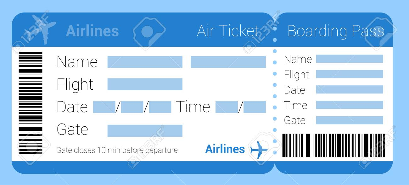 Flat Design Air Ticket Icon Air Ticket Template Set Boarding
