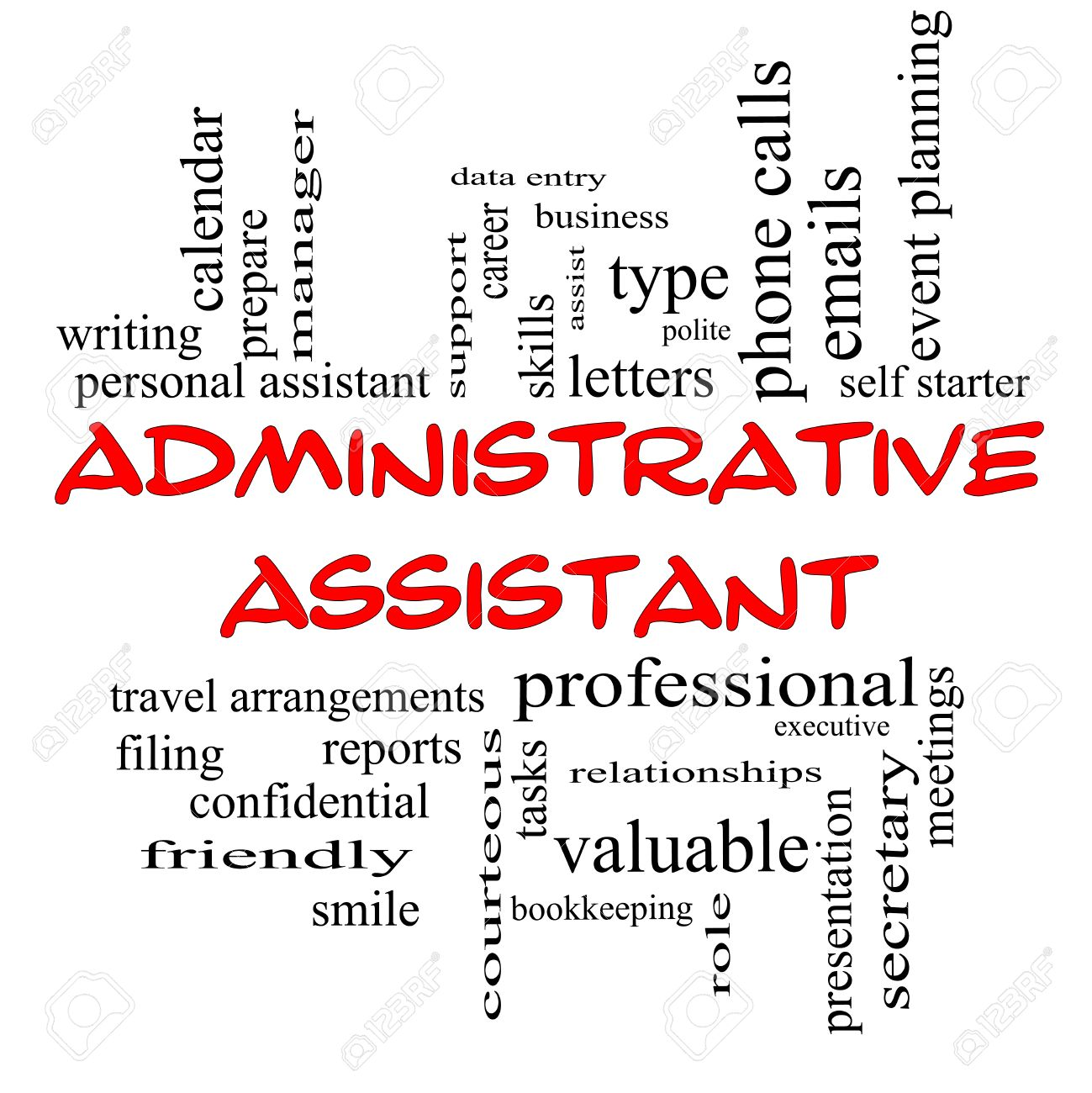Administrative Assistant Administrative Assistant Word Cloud Concept In Red Caps With