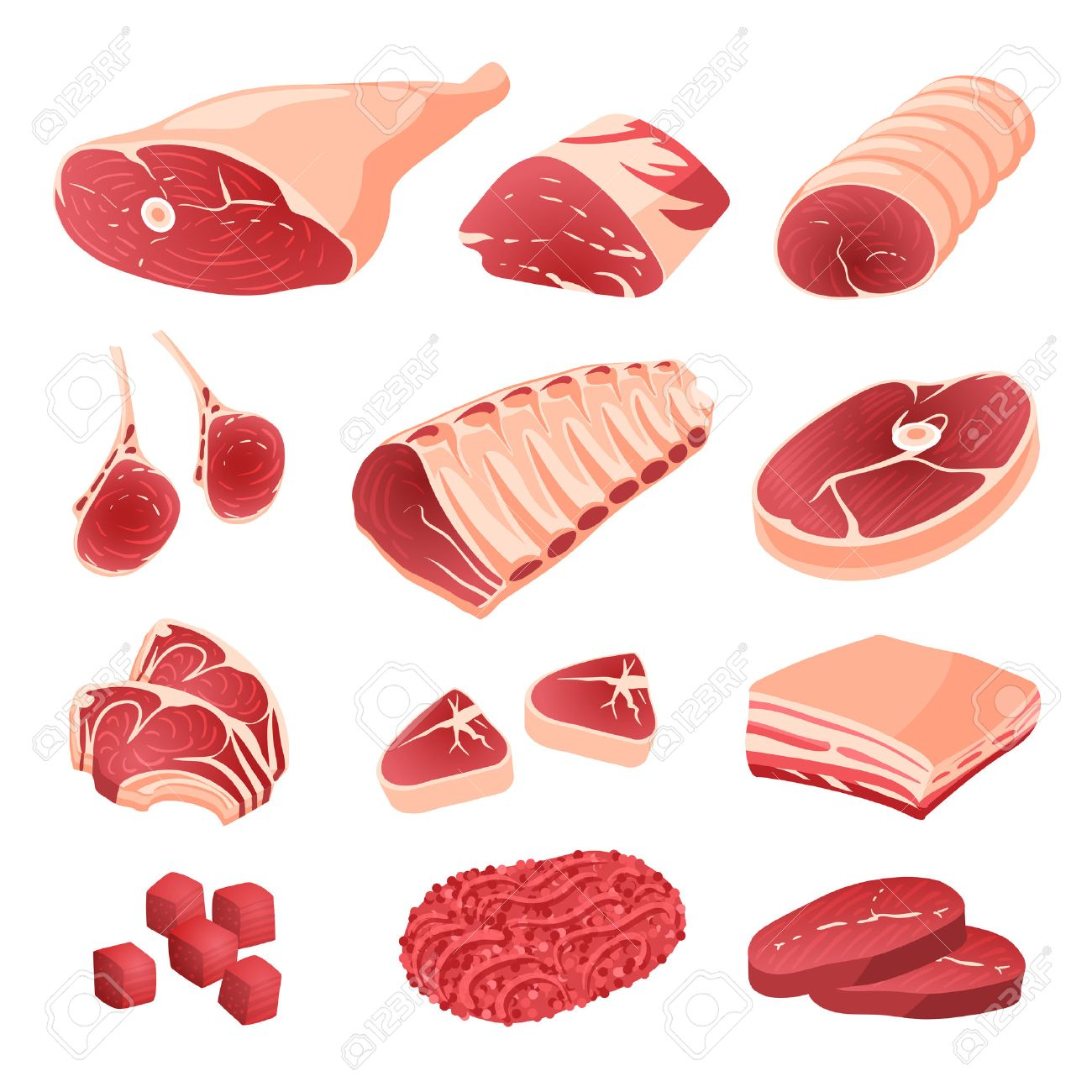 Set Of Cartoon Food Meat Cuts Assortment Beef Pork Lamb Royalty Free Cliparts Vectors And Stock Illustration Image 53858117