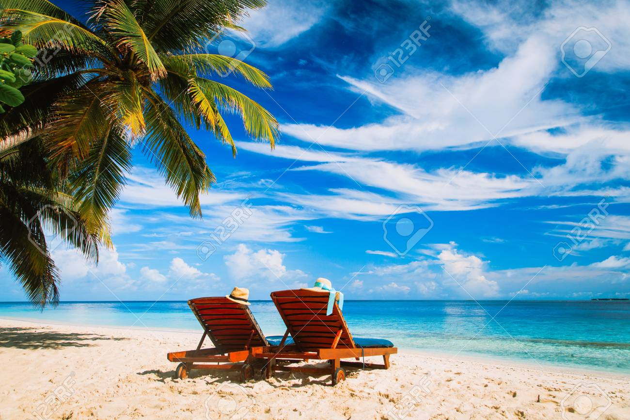 Two Chairs On The Tropical Beach Stock Photo Picture And Royalty Free Image Image 71559241