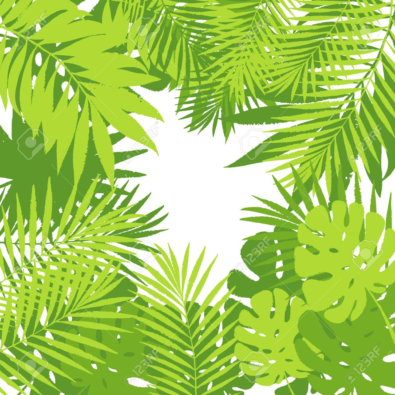 Wandposter Natur Summer Tropical Palm Tree Leaves Background Vector Grunge Design