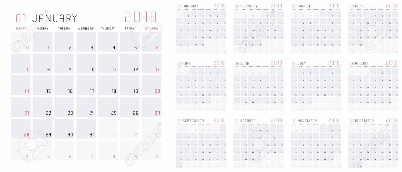 Planning Calendar Template 2018 Set Of 12 Months January - December