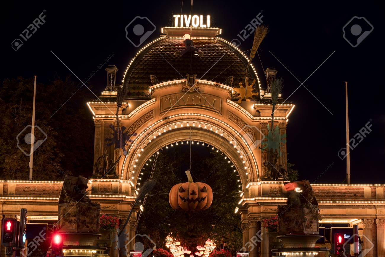 Halloween Pumpkin In Front Of The Illuminated Main Entrance To Stock Photo Picture And Royalty Free Image Image 101982882